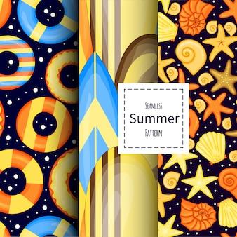 Conjunto de padrões de verão. estilo de desenho animado.