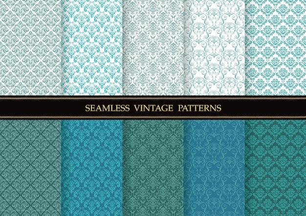 Conjunto de padrões de vetor sem costura vintage damasco. horizontalmente e verticalmente repetível.