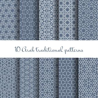 Conjunto de padrões de vetores árabes. linha contínua, decoração de design, tecido de coleção