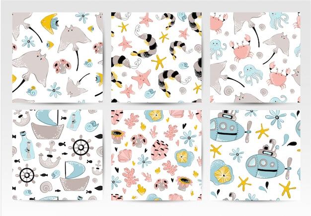 Conjunto de padrões de vetores sem costura - animais do mar dos desenhos animados