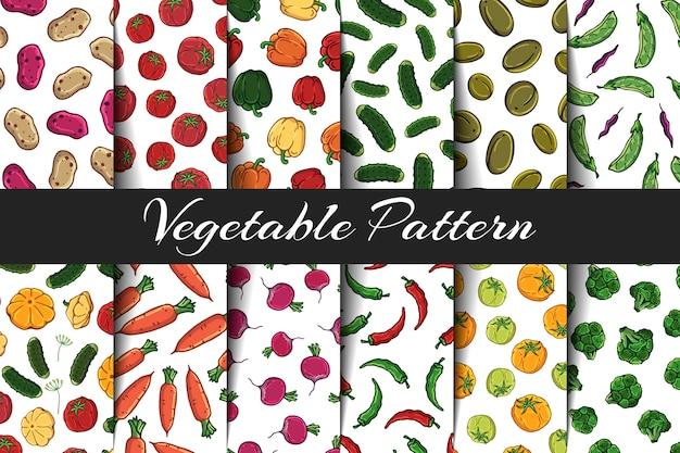 Conjunto de padrões de vetores sobre o tema de legumes.