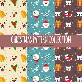 Conjunto de padrões decorativos de natal em design plano
