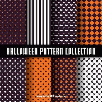 Conjunto de padrões decorativos geométricos de halloween
