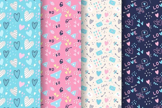 Conjunto de padrões desenhados à mão para o dia dos namorados