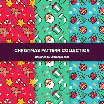 Conjunto de padrões divertidos de natal