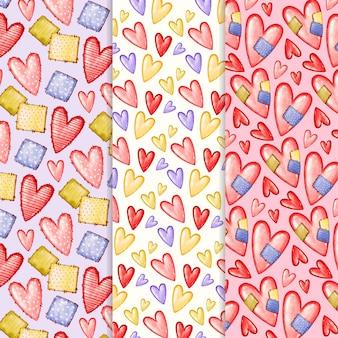 Conjunto de padrões do dia dos namorados em aquarela