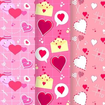 Conjunto de padrões do dia dos namorados