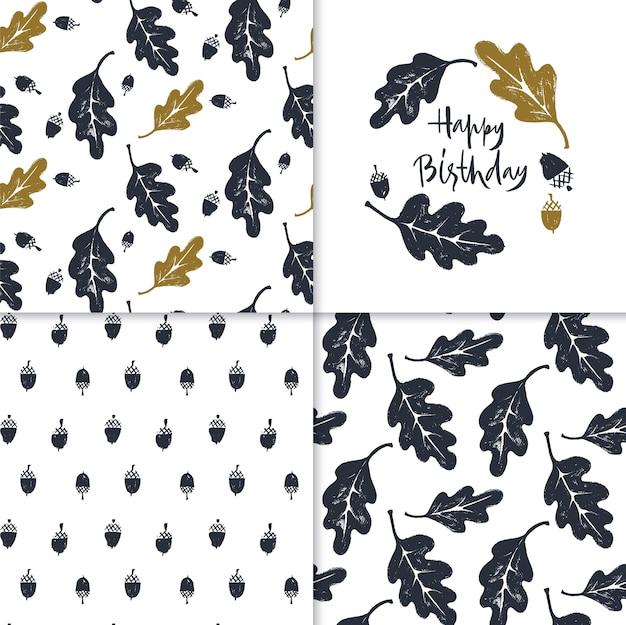 Conjunto de padrões e cartão de feliz aniversário com folhas de carvalho e bolotas.
