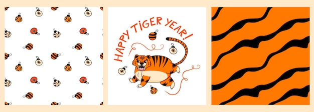 Conjunto de padrões e pôster com um tigre fofo e a inscrição ano tigre feliz em estilo cartoon