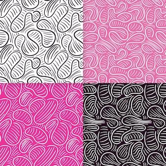Conjunto de padrões elegantes de linhas arredondadas