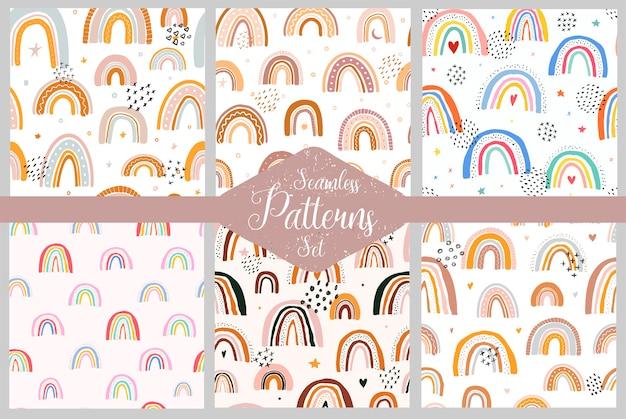 Conjunto de padrões escandinavos com arco-íris