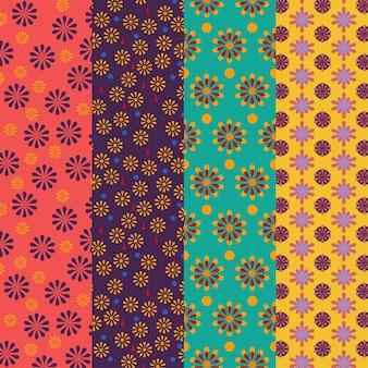 Conjunto de padrões florais coloridos brilhantes - vetor sem emenda