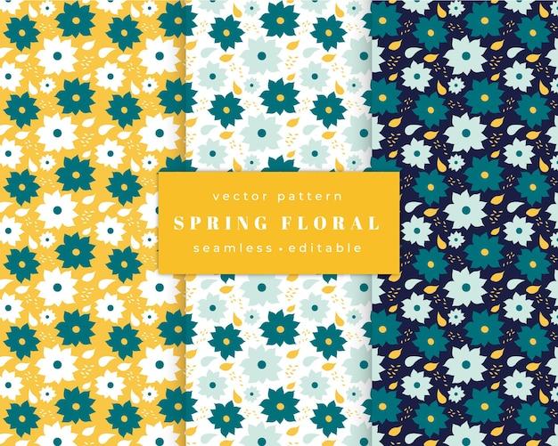 Conjunto de padrões florais com flores margaridas em branco, verde e amarelo