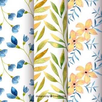 Conjunto de padrões florais em estilo aquarela