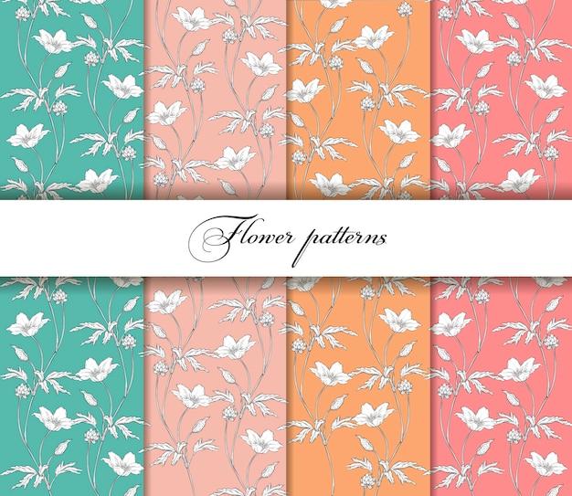Conjunto de padrões florais florais sem emenda