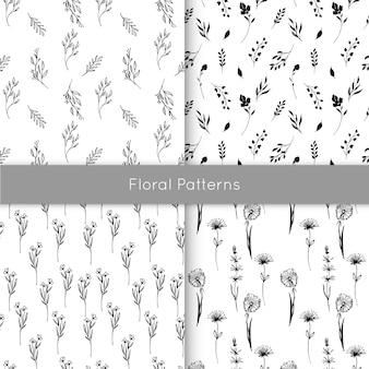 Conjunto de padrões florais sem costura com elementos de tinta desenhados à mão