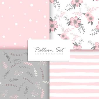 Conjunto de padrões florais sem costura