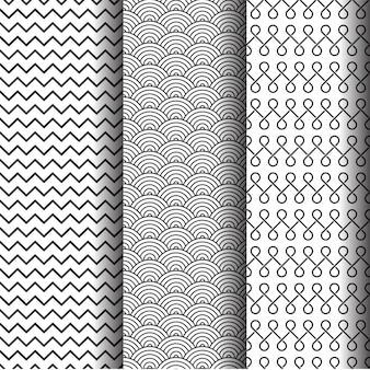 Conjunto de padrões geométricos abstratos, texturas ou fundo sem costura preto e branco.