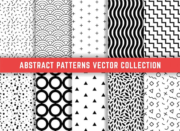 Conjunto de padrões geométricos minimalistas
