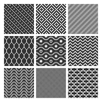 Conjunto de padrões geométricos monocromáticos sem costura