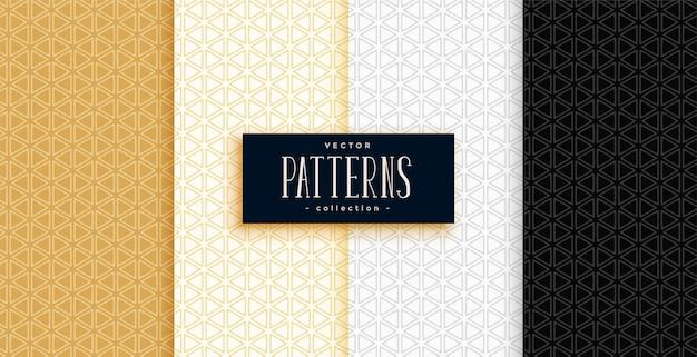Conjunto de padrões geométricos pequenos triângulos em cores premium