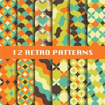 Conjunto de padrões geométricos retrô abstrata
