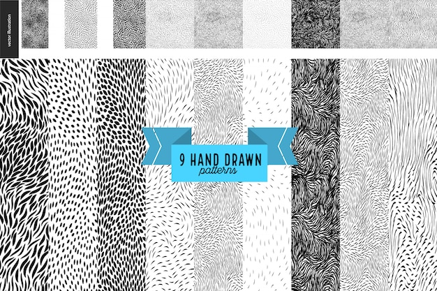 Conjunto de padrões handdrawn preto e branco