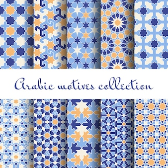Conjunto de padrões islâmicos, árabes sem costura, papel de parede de design