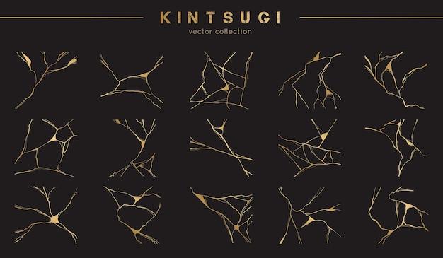 Conjunto de padrões kintsugi dourados