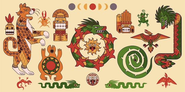 Conjunto de padrões maias ou astecas