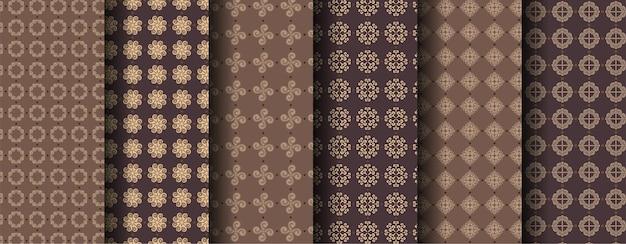 Conjunto de padrões marrons ornamentais sem costura