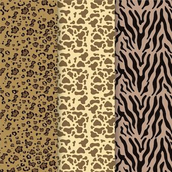 Conjunto de padrões modernos de estampas de animais