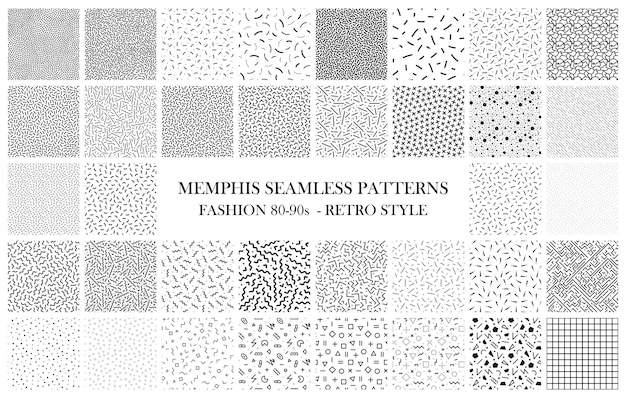 Conjunto de padrões modernos sem costura moda 8090s texturas em preto e branco