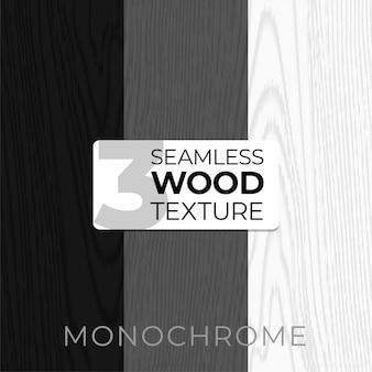 Conjunto de padrões monocromáticos sem emenda. textura de madeira ilustração para cartazes, planos de fundo, impressão, papel de parede. ilustração de tábuas de madeira. .