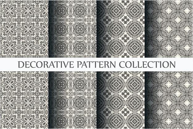 Conjunto de padrões ornamentais monocromáticos sem costura