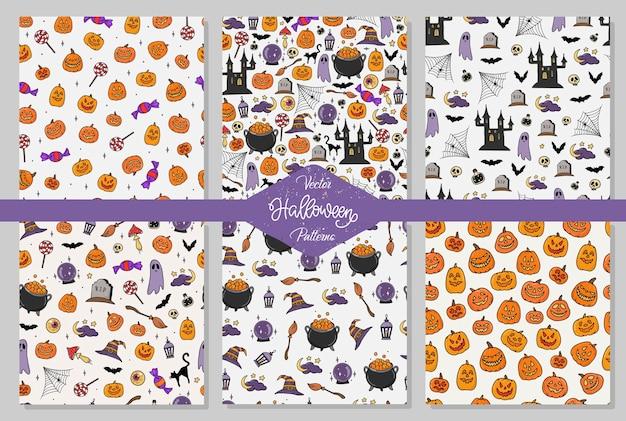 Conjunto de padrões perfeitos de halloween