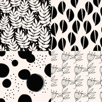 Conjunto de padrões pretos astract.