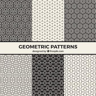 Conjunto de padrões psicodélicos em preto e branco