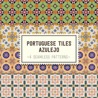 Conjunto de padrões sem costura com azulejos portugueses