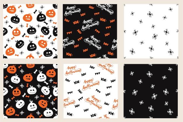 Conjunto de padrões sem costura com desenhos de halloween. ilustração do vetor.