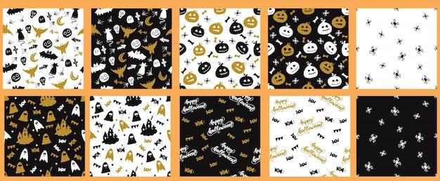 Conjunto de padrões sem costura com halloween design. ilustração do vetor.