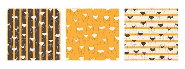 Conjunto de padrões sem costura com quadris dos modelos plus size contorno de um corpo feminino rechonchudo ou gordo