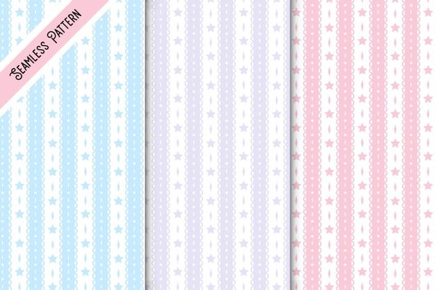 Conjunto de padrões sem costura de três laços e estrelas