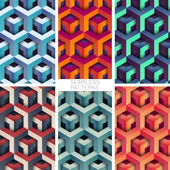 Conjunto de padrões sem costura de vetor geométrico