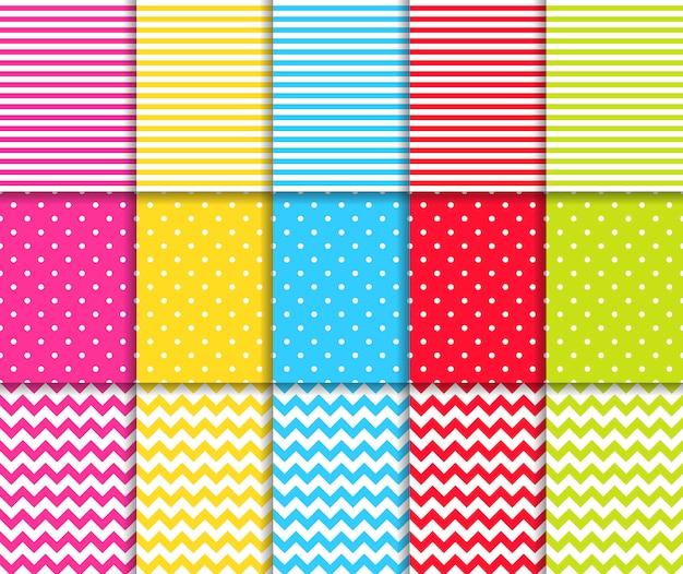 Conjunto de padrões sem costura pontilhada e listrada colorida