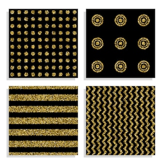 Conjunto de padrões sem costura preto e dourado