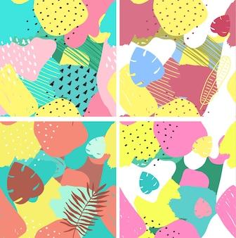 Conjunto de padrões sem emenda abstratos de vetor elementos coloridos desenhados à mão. colagem de papel