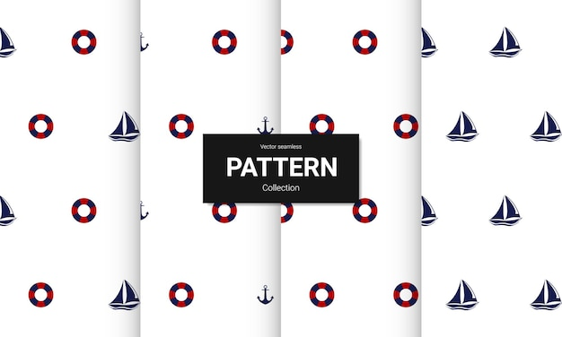 Conjunto de padrões sem emenda azuis. texturas náuticas sem emenda do vetor.