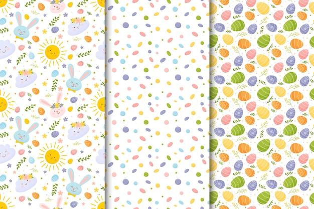 Conjunto de padrões sem emenda coloridos de páscoa