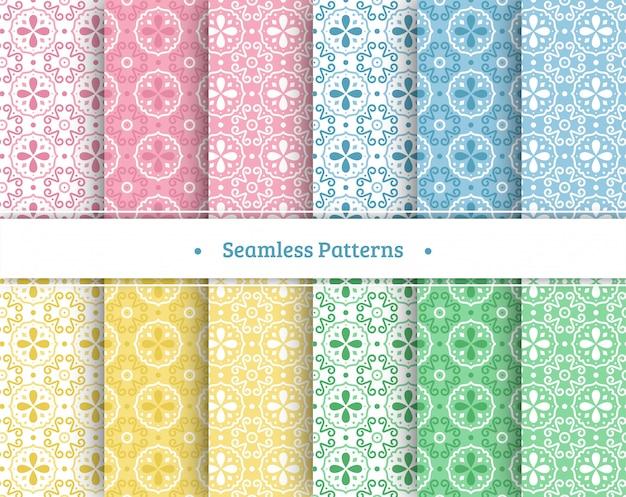 Conjunto de padrões sem emenda coloridos